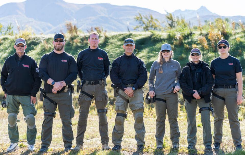 Alaska Tactical team before a gun safety course