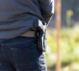 Handgun in holster at Alaska concealed carry class.
