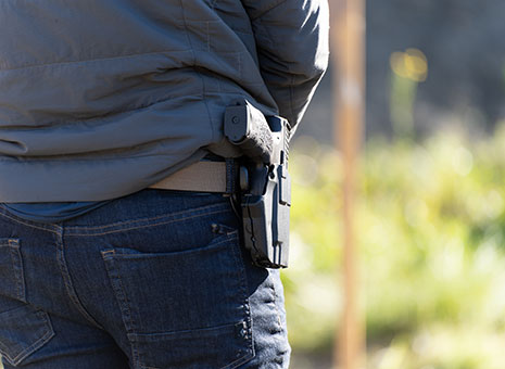 Handgun in holster at Alaska concealed carry class.