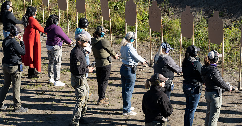 Alaska Tactical shooting range with class in session.